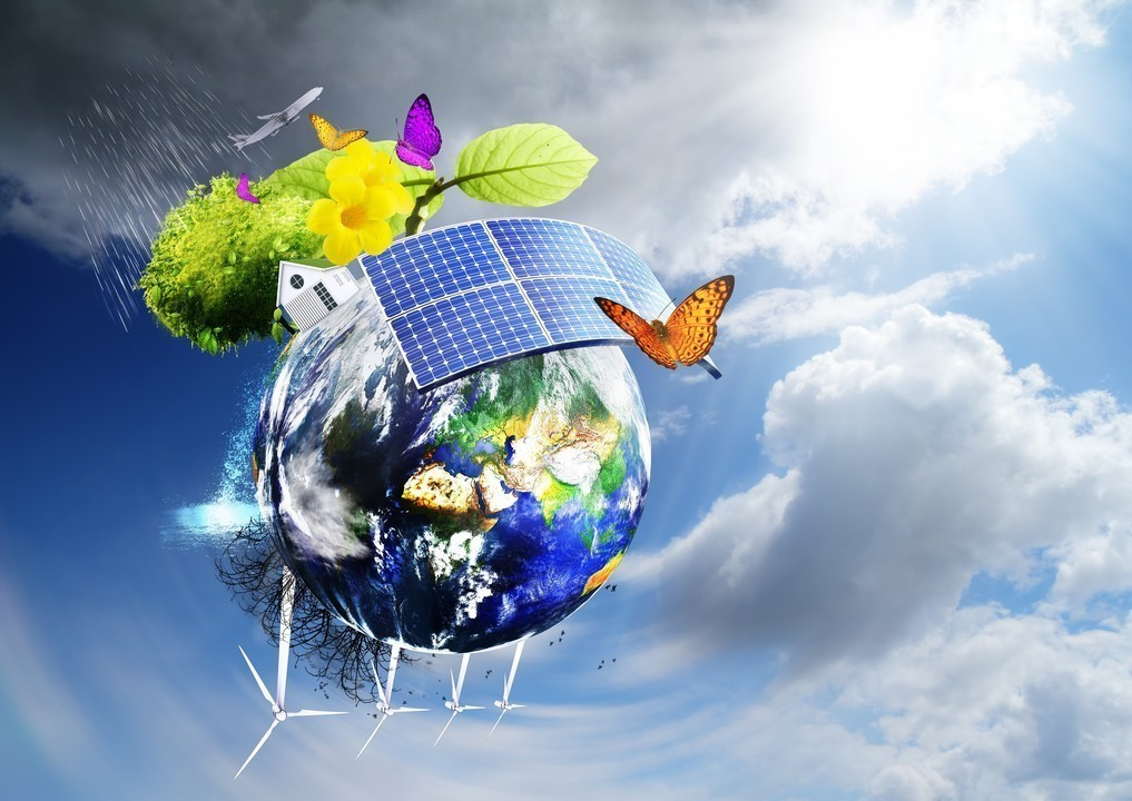 Collage with solar batteries as alternative source of energy
